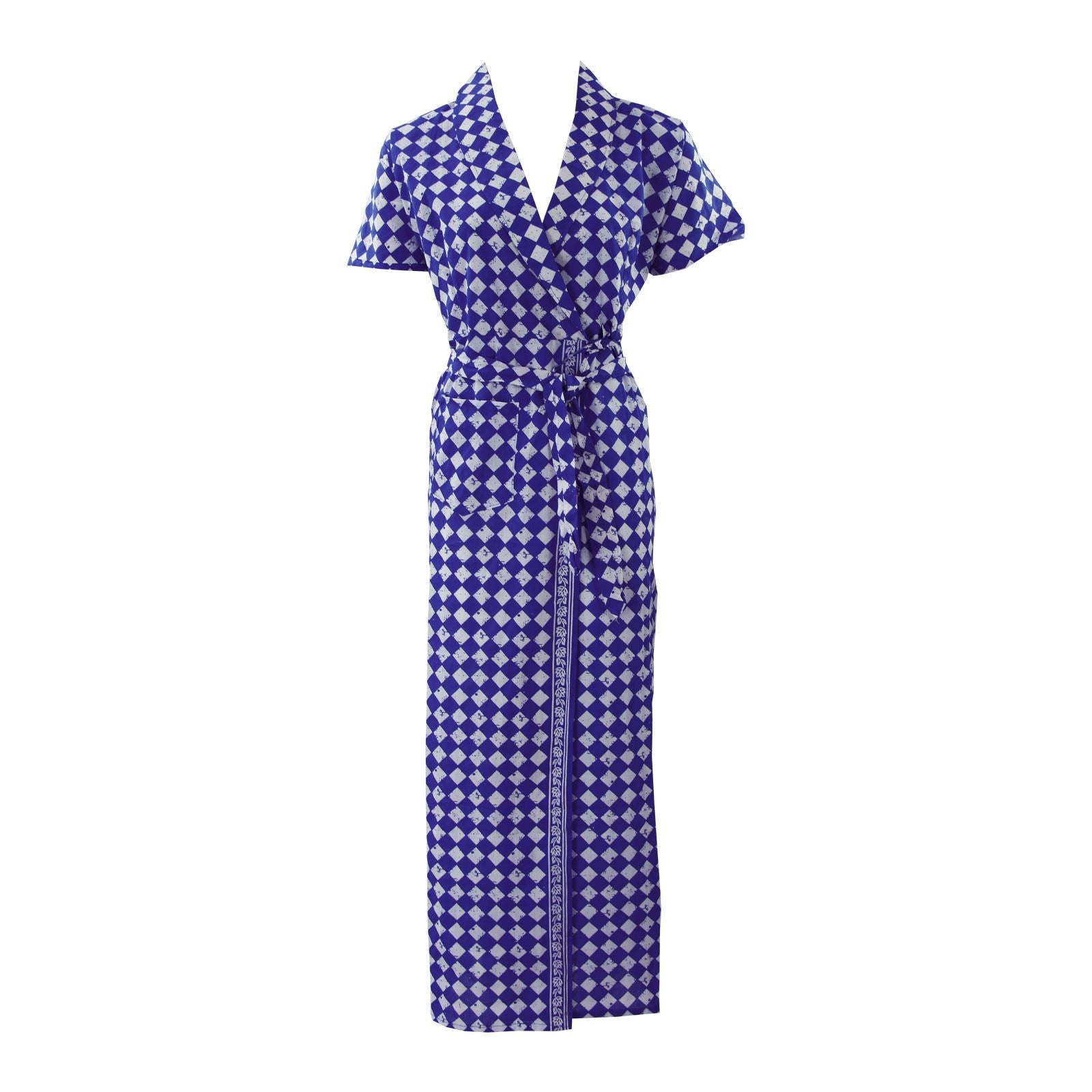 Color: Blue Square 100% Cotton Bathrobe Wrap Gown Size: L (8-14)