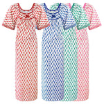 Load image into Gallery viewer, Color: Blue, Green, Pink, Red 100% Cotton Long Nighty Size: One Size