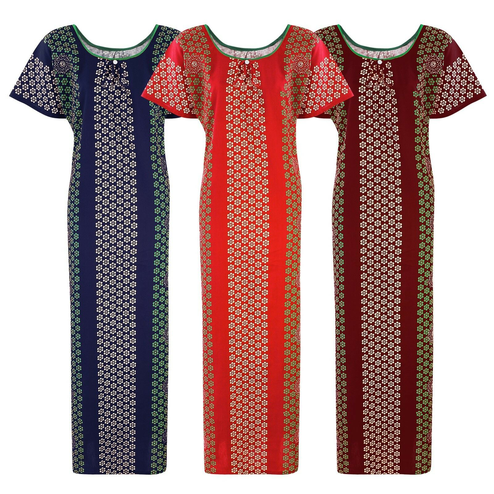 Color: Deep Red, Navy, Red Cotton Kaftan Nightdress Size: L (10-16)