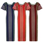 Load image into Gallery viewer, Color: Deep Red, Navy, Red Cotton Kaftan Nightdress Size: L (10-16)