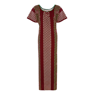 Color: Deep Red Cotton Kaftan Nightdress Size: L (10-16)