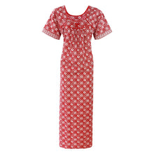 Load image into Gallery viewer, Cotton Rich Floral Print Long Nighty [colour]- Hautie UK, #Nightfashion | #Underfashion