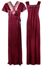 Load image into Gallery viewer, Satin Nighty With Dressing Gown / Robe [colour]- Hautie UK, #Nightfashion | #Underfashion