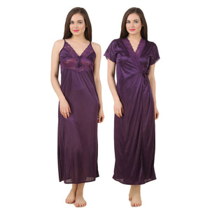 2 Pc Satin Long Nighty With Robe / Wrap Gown [colour]- Hautie UK, #Nightfashion | #Underfashion