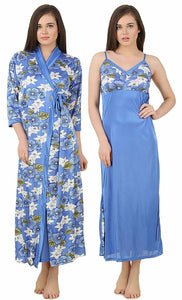 Color: Blue, Pink, Wine 2Pcs Floral Satin Nighty with Robe Size: One Size