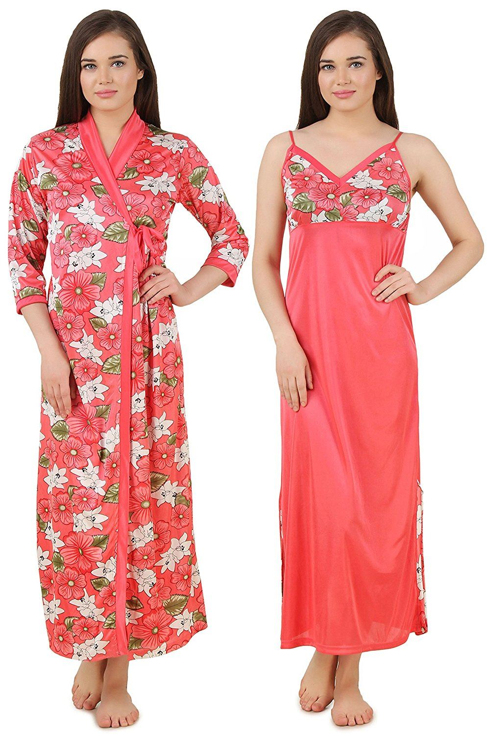 Color: Pink 2Pcs Floral Satin Nighty with Robe Size: One Size