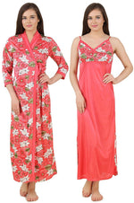 Afbeelding in Gallery-weergave laden, Color: Pink 2Pcs Floral Satin Nighty with Robe Size: One Size