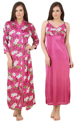 Afbeelding in Gallery-weergave laden, Color: Wine 2Pcs Floral Satin Nighty with Robe Size: One Size