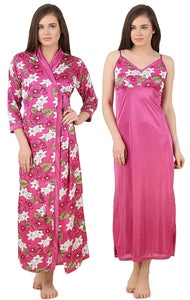 Color: Wine 2Pcs Floral Satin Nighty with Robe Size: One Size