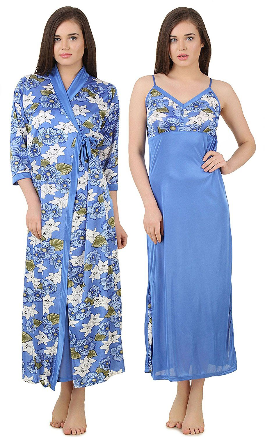 Color: Blue 2Pcs Floral Satin Nighty with Robe Size: One Size