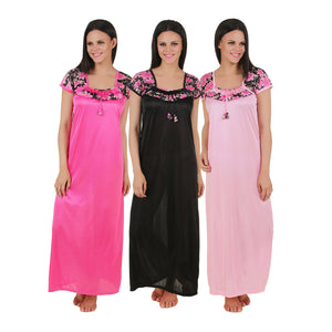 Floral Solid Satin Long Nightdress [colour]- Hautie UK, #Nightfashion | #Underfashion