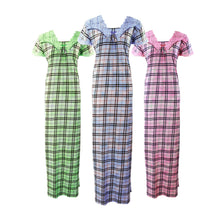 Load image into Gallery viewer, Cotton Rich Check Print Nightdress [colour]- Hautie UK, #Nightfashion | #Underfashion