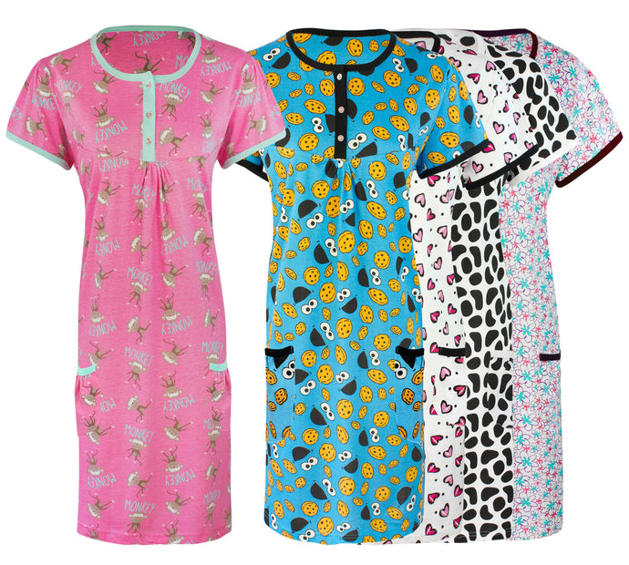 Ladies / Girls Plus Size Short Printed Nightshirt [colour]- Hautie UK, #Nightfashion | #Underfashion