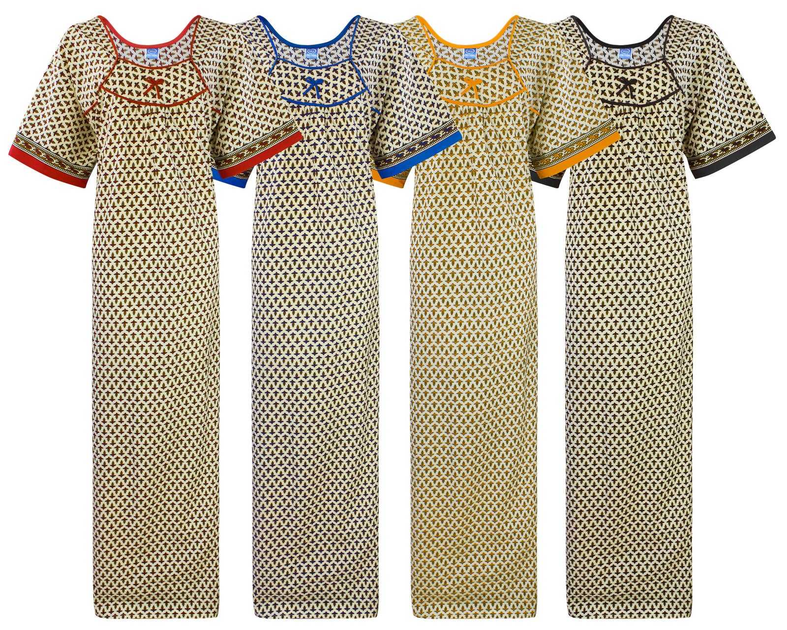 Color: Red, Yellow, Blue, Black 100% Cotton Short Sleeve Long Nighty Size: Plus Size