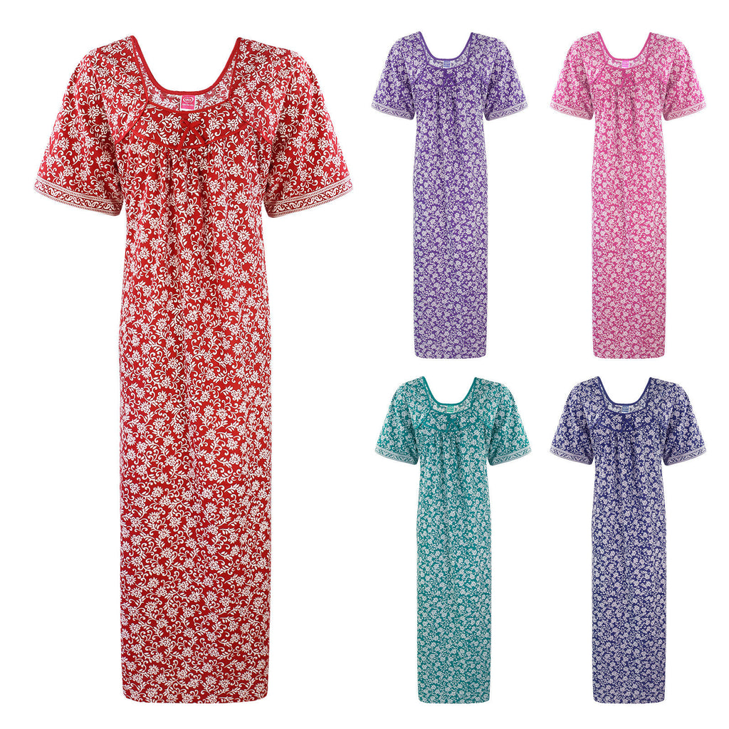 Color: Red, Pink, Purple, Green, Blue 100% Cotton Short Sleeve Floral Print Nightwear Size: L