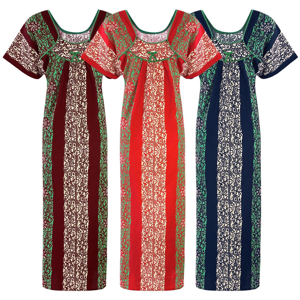Color: Deep Red, Red, Navy 100% Cotton Printed Long Nighty Size: L (10-16)