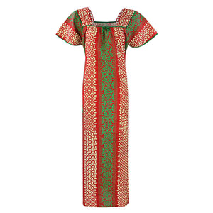 Color: Red 1 100% Cotton Printed Square Neck Long Nighty Size: L (10-16)