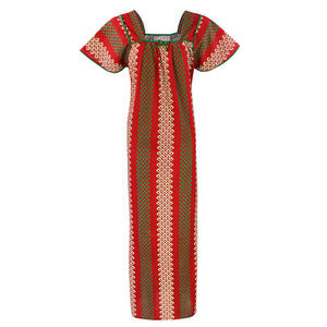 Color: Red 100% Cotton Printed Square Neck Long Nighty Size: L (10-16)