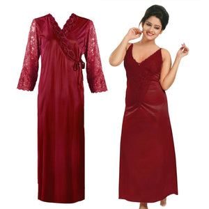 Women Long Sleeve Satin Gown with Nighty [colour]- Hautie UK, #Nightfashion | #Underfashion