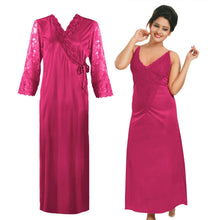 Load image into Gallery viewer, Women Long Sleeve Satin Gown with Nighty [colour]- Hautie UK, #Nightfashion | #Underfashion