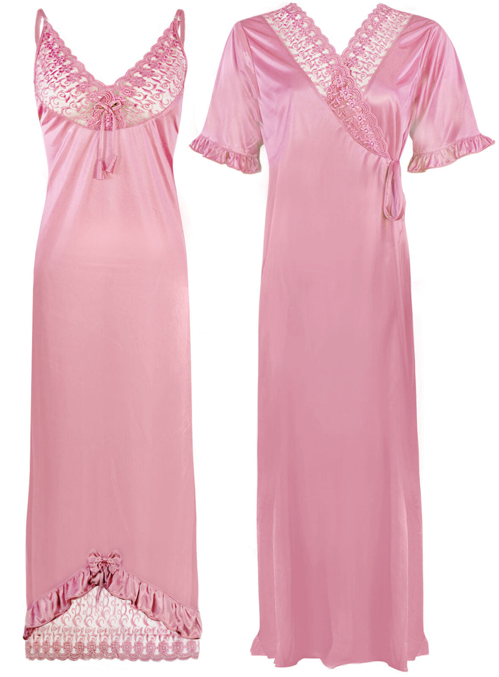 Women Satin Nighty With Robe 2 Pcs Set [colour]- Hautie UK, #Nightfashion | #Underfashion