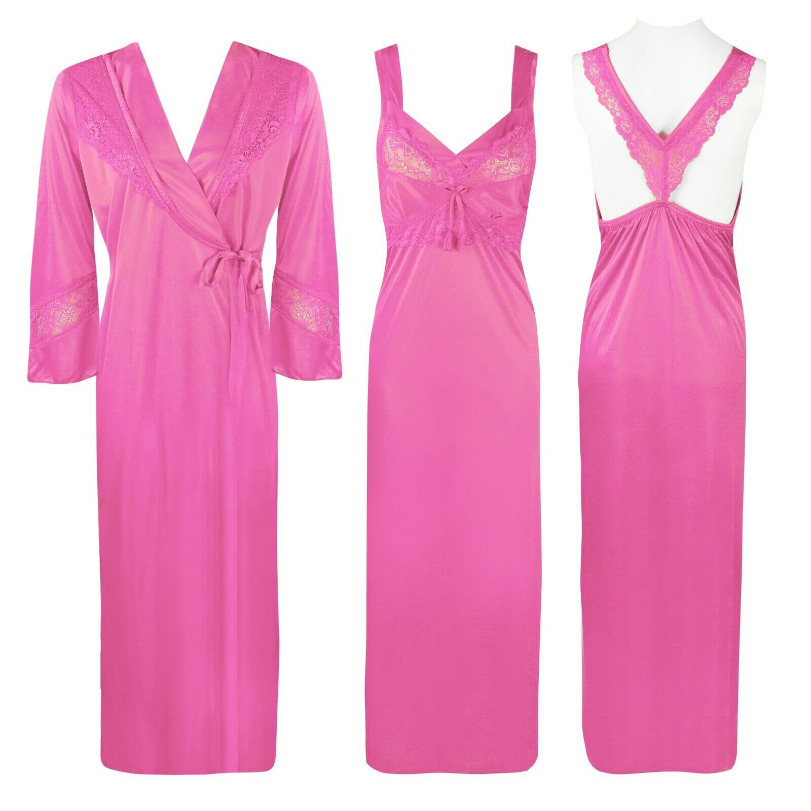 Satin 2 Pcs Cross Back Nighty With Robe [colour]- Hautie UK, #Nightfashion | #Underfashion