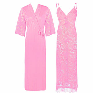 Full Lace Nighty with Satin Robe [colour]- Hautie UK, #Nightfashion | #Underfashion ONE, FREE SIZE S M L XL  BABY PINK
