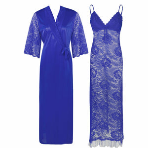Full Lace Nighty with Satin Robe [colour]- Hautie UK, #Nightfashion | #Underfashion ONE, FREE SIZE S M L XL  BLUE