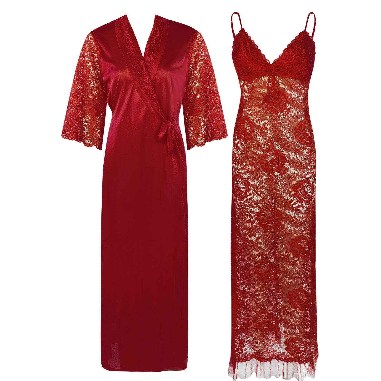 Full Lace Nighty with Satin Robe [colour]- Hautie UK, #Nightfashion | #Underfashion ONE, FREE SIZE S M L XL  DEEP RED