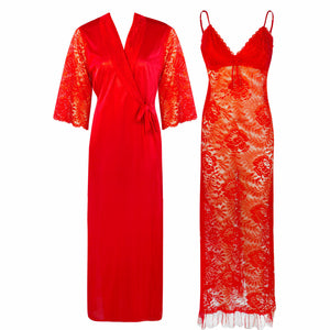 Full Lace Nighty with Satin Robe [colour]- Hautie UK, #Nightfashion | #Underfashion ONE, FREE SIZE S M L XL  RED