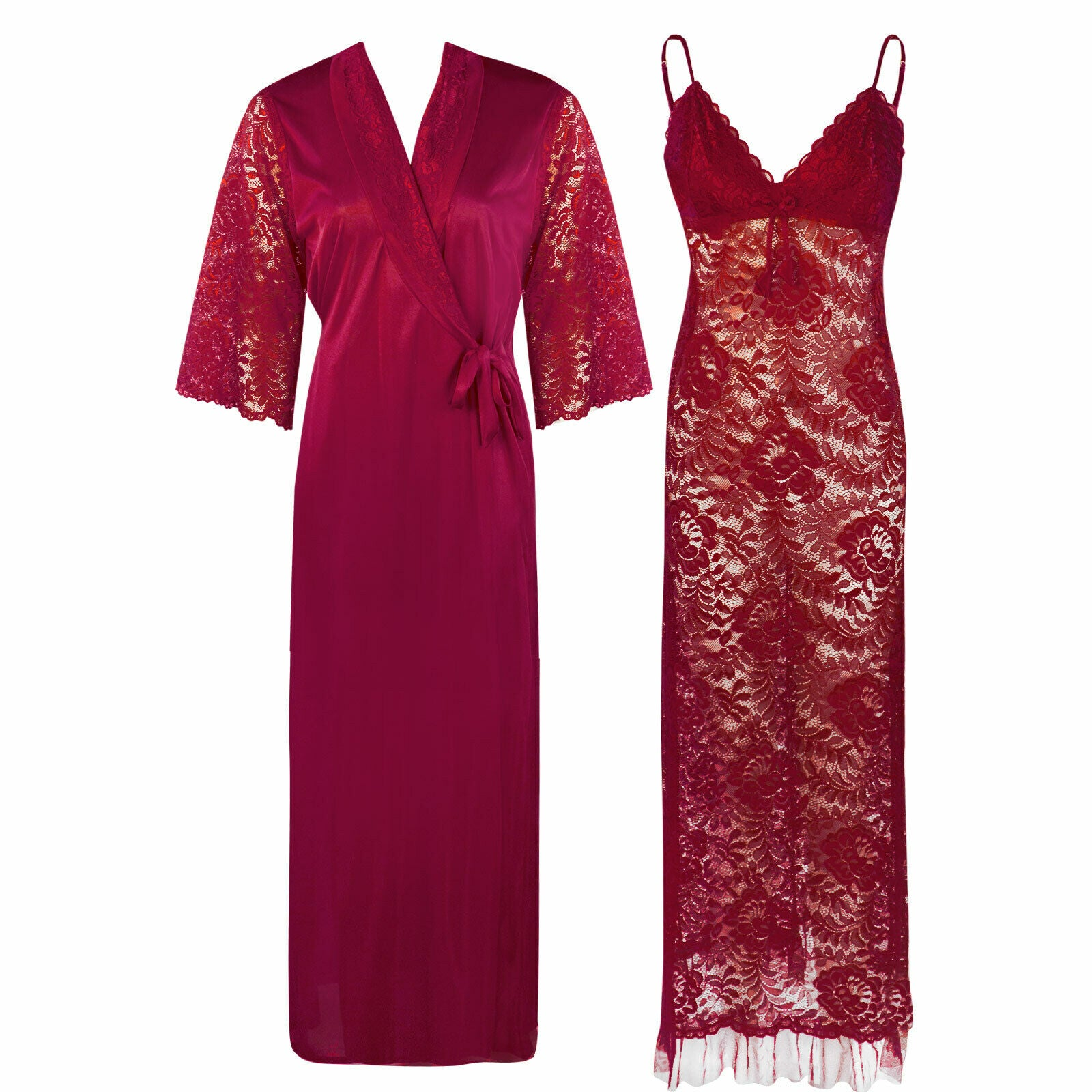 Full Lace Nighty with Satin Robe [colour]- Hautie UK, #Nightfashion | #Underfashion ONE, FREE SIZE S M L XL  WINE