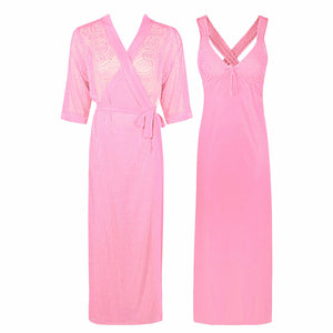 Sexy Cross Back 2 Piece Satin Long Nighty With Robe [colour]- Hautie UK, #Nightfashion | #Underfashion ONE, FREE SIZE 8 10 12 14  BABY PINK