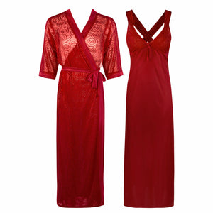 Sexy Cross Back 2 Piece Satin Long Nighty With Robe [colour]- Hautie UK, #Nightfashion | #Underfashion ONE, FREE SIZE 8 10 12 14 DEEP RED