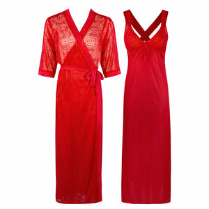 Sexy Cross Back 2 Piece Satin Long Nighty With Robe [colour]- Hautie UK, #Nightfashion | #Underfashion ONE, FREE SIZE 8 10 12 14 RED