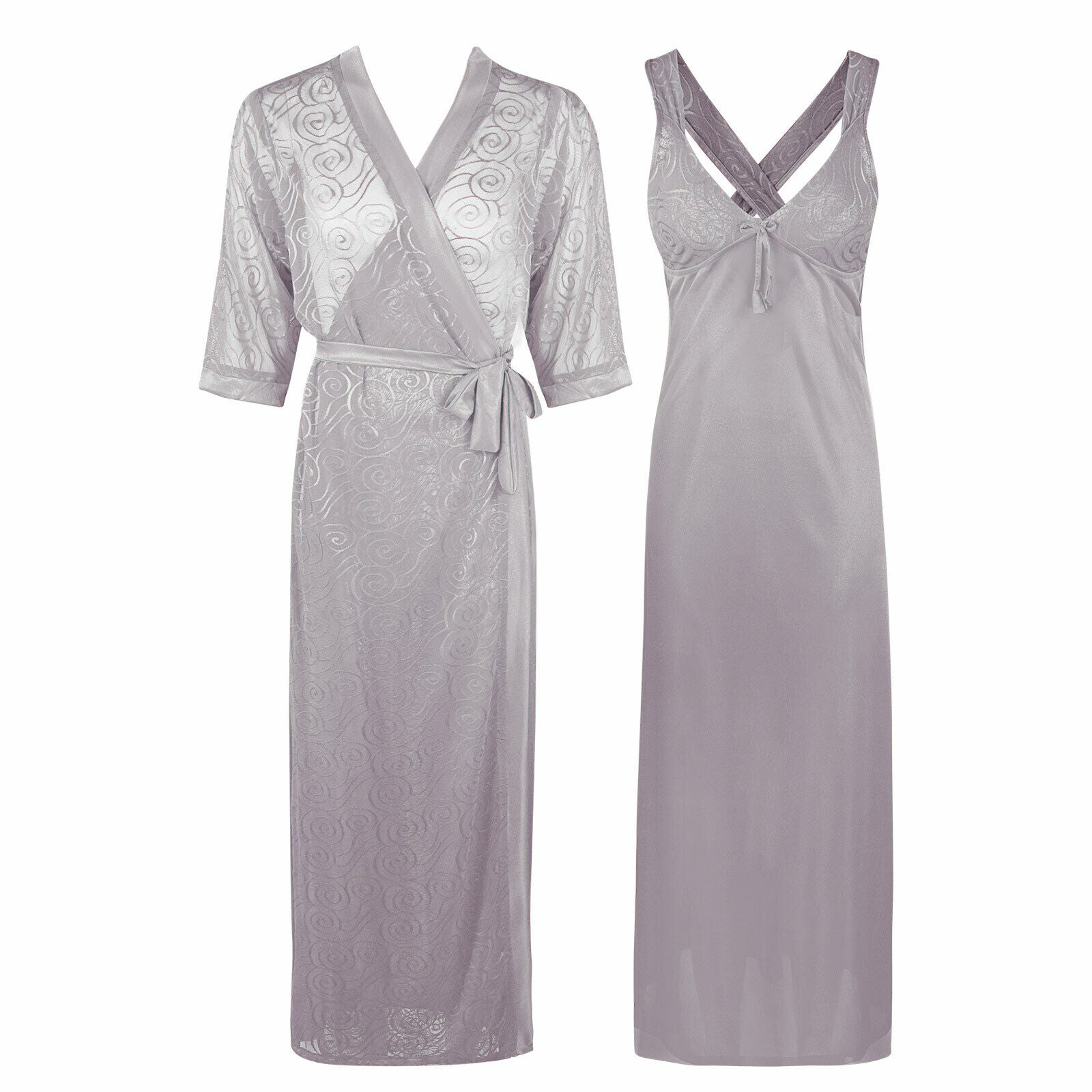 Sexy Cross Back 2 Piece Satin Long Nighty With Robe [colour]- Hautie UK, #Nightfashion | #Underfashion ONE, FREE SIZE 8 10 12 14 SILVER
