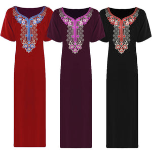 LADIES 100% COTTON LONG NIGHTDRESS NIGHTY CHEMISE EMBROIDERY DETAILED SIZE 12-22