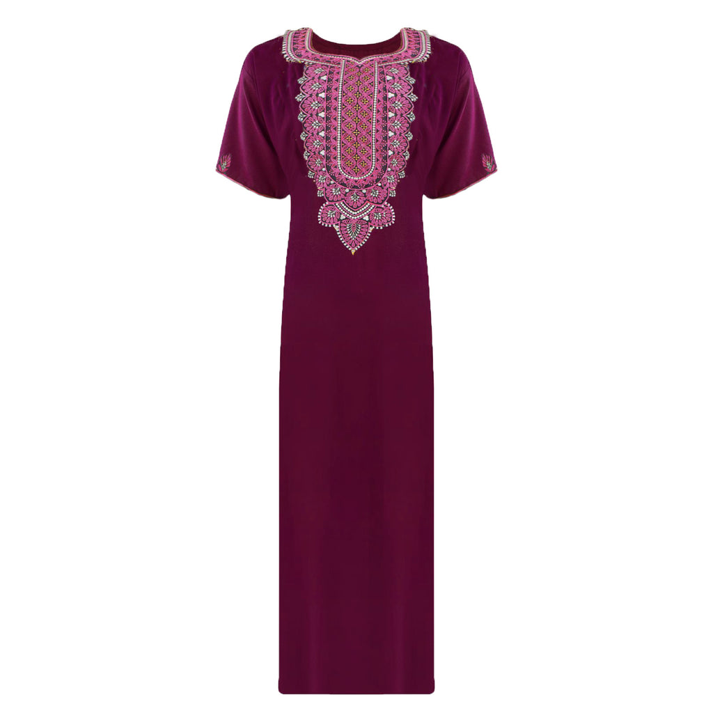 Colour: Deep Red 100% Cotton Embroidery detailed Long Nightdress Size: L