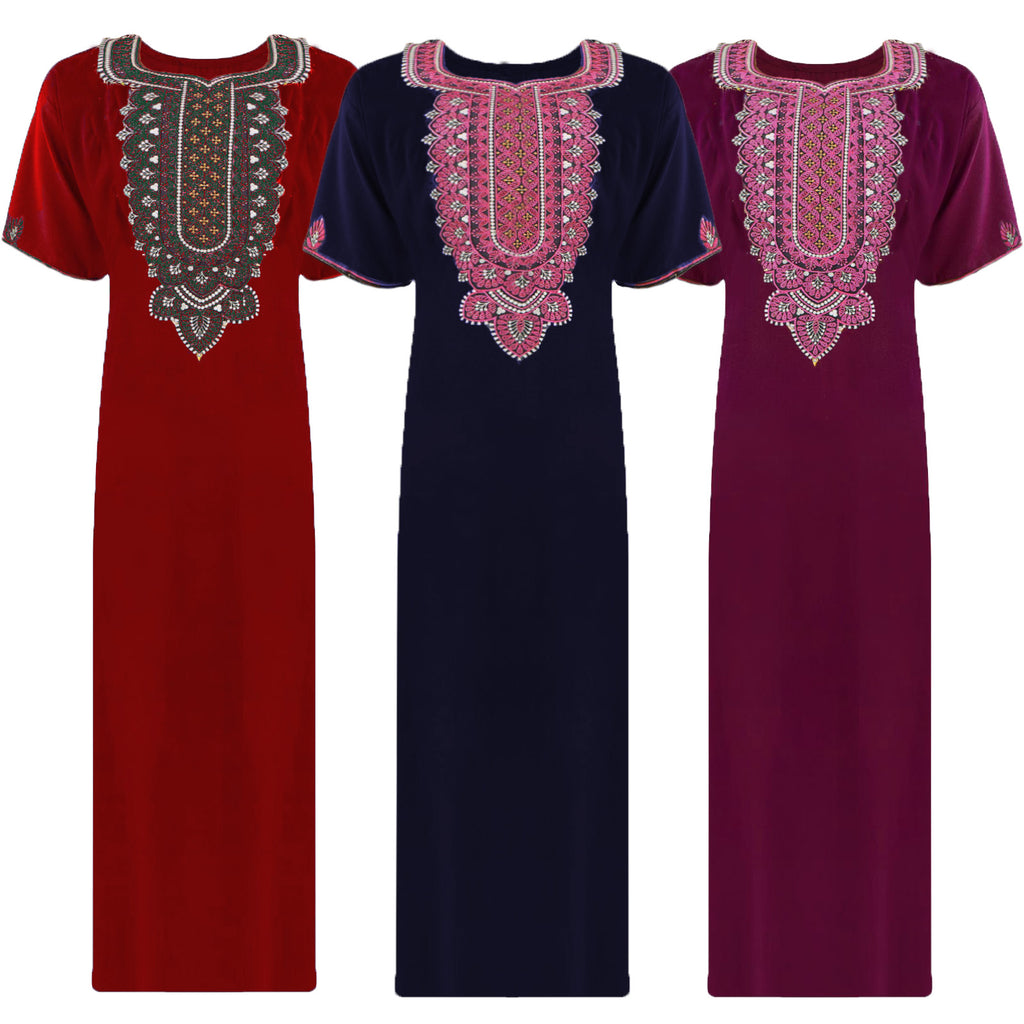 Colour: Red, Navy, Deep Red 100% Cotton Embroidery detailed Long Nightdress Size: L, XL