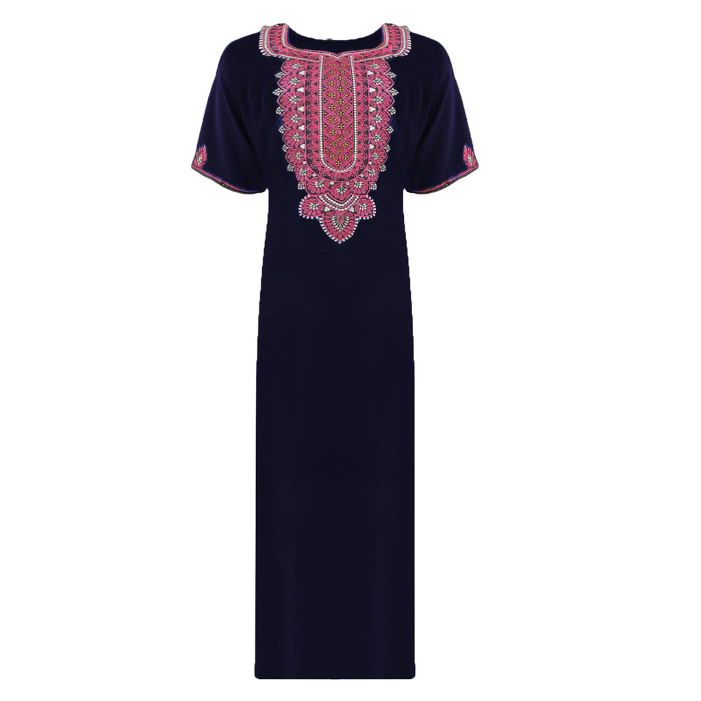 Colour: Navy 100% Cotton Embroidery detailed Long Nightdress Size: L