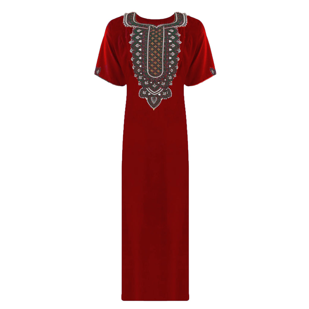 Colour: Red 100% Cotton Embroidery detailed Long Nightdress Size: L