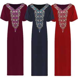 Women 100% Cotton Short Sleeve full length Nightdress [colour]- Hautie UK, #Nightfashion | #Underfashion