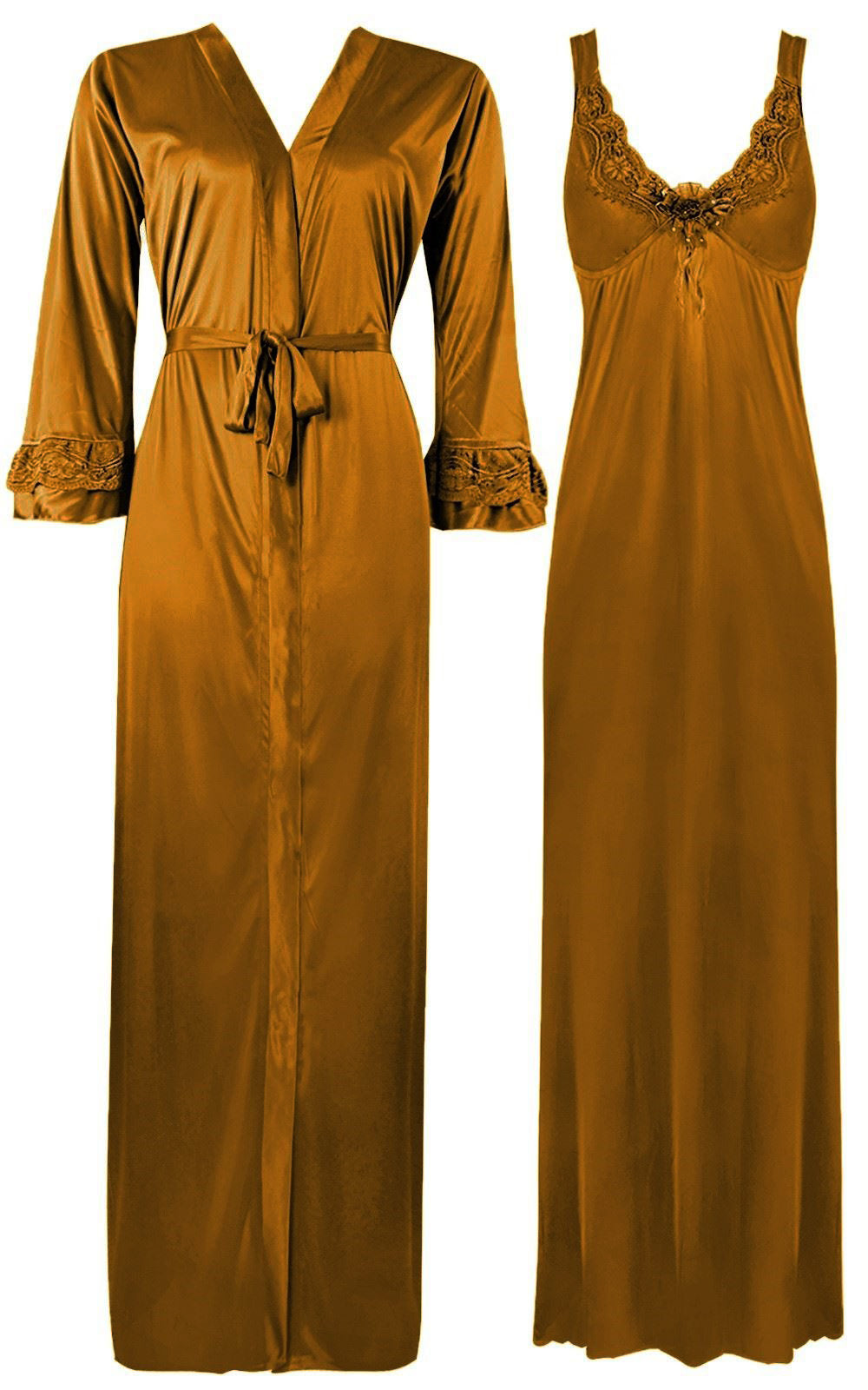 Color: Gold 2 Piece Satin Nighty and Robe With Long Sleeve Dressing Gown Size: XL