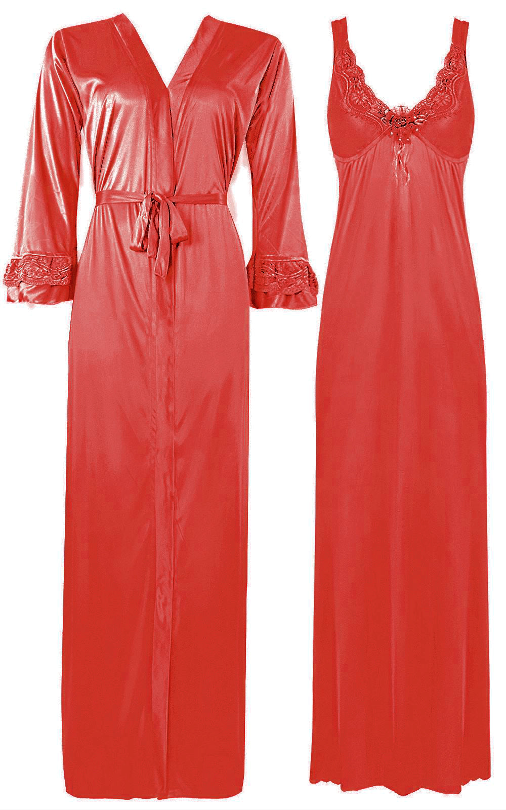 2 Piece Satin Nighty and Robe With Long Sleeve Dressing Gown