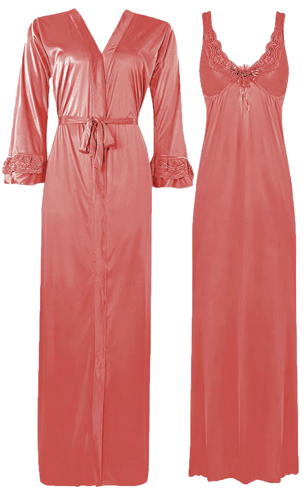 Color: Coral 2 Piece Satin Nighty and Robe With Long Sleeve Dressing Gown Size: XL
