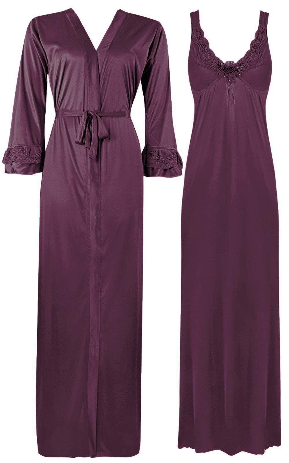 Color: Purple 2 Piece Satin Nighty and Robe With Long Sleeve Dressing Gown Size: XL