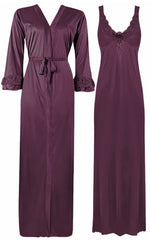 Načíst obrázek do prohlížeče Galerie, Color: Purple 2 Piece Satin Nighty and Robe With Long Sleeve Dressing Gown Size: XL