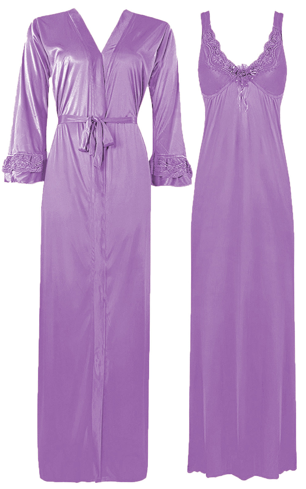 Color: Rose 2 Piece Satin Nighty and Robe With Long Sleeve Dressing Gown Size: XL