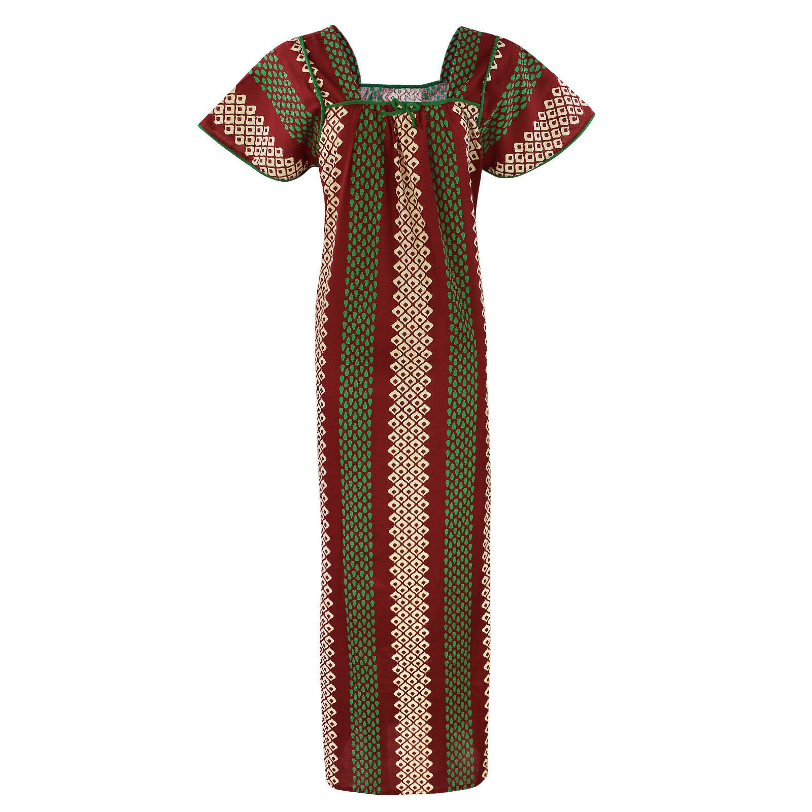 Color: Deep Red 100% Cotton Printed Square Neck Long Nighty Size: L (10-16)