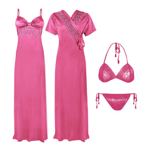 Ladies Full Length Pink/ Black Satin Chemise Nightdress Nighty 4 Pcs