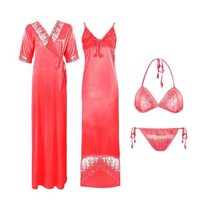 WOMEN SATIN LONG NIGHTDRESS LADIES NIGHTY CHEMISE EMBROIDERY DETAILED